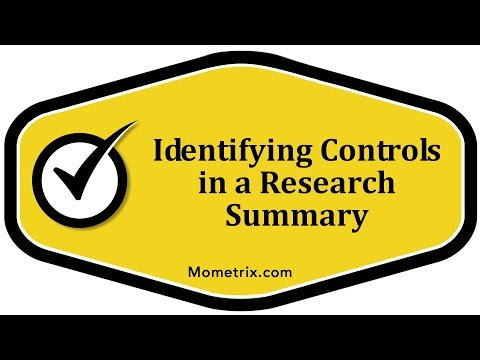 Identifying Controls in a Research Summary