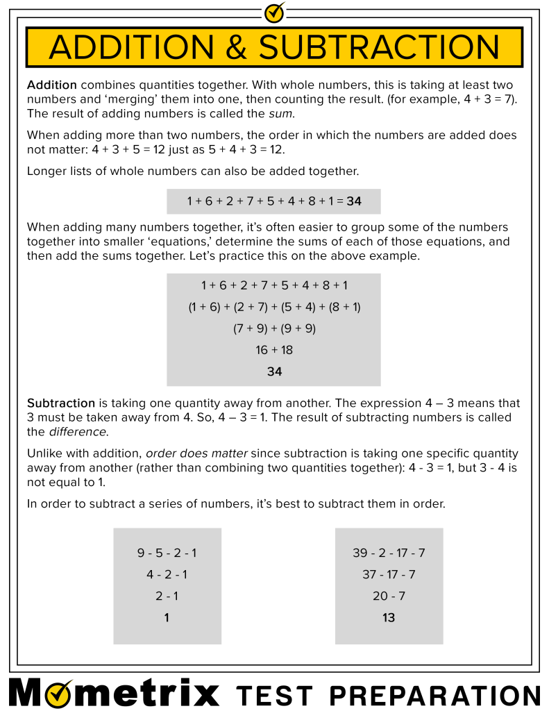 Infographic explaining how to solve equations using addition and subtraction