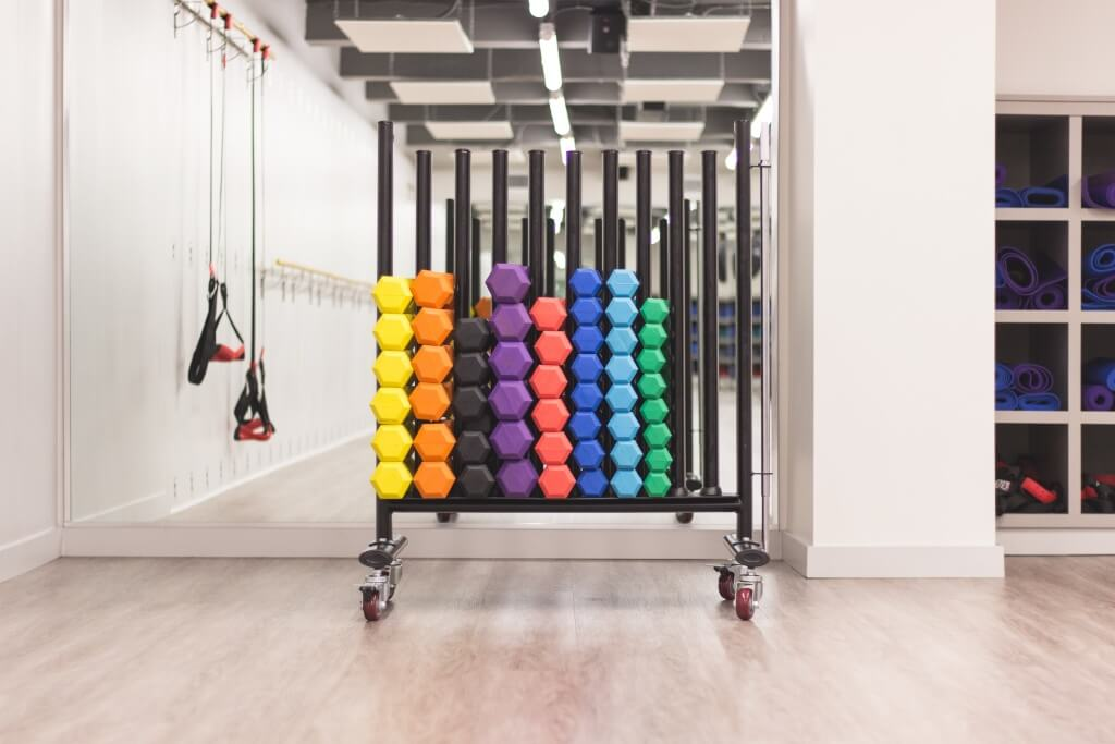 Weights in a fitness room