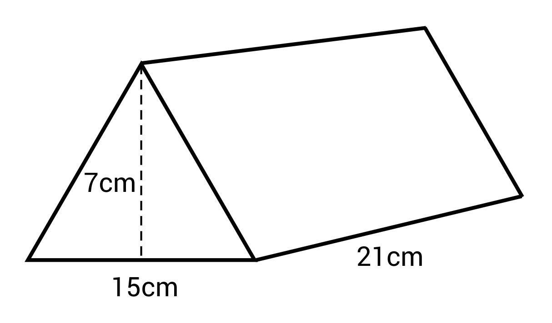 A 7cm by 15cm by 21cm triangular prism