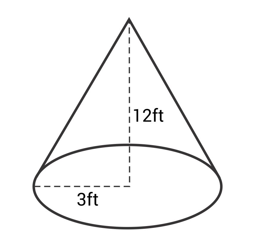 A cone with a height of 12ft and a radius of 3ft
