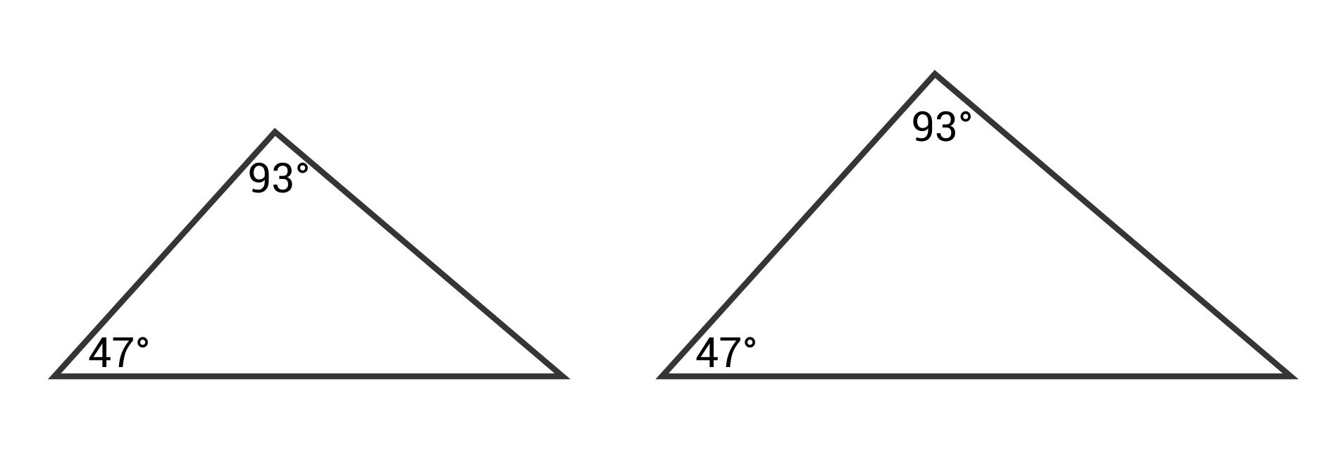 Similar triangles with angles 93 and 47 degrees versus 93 and 47 degrees