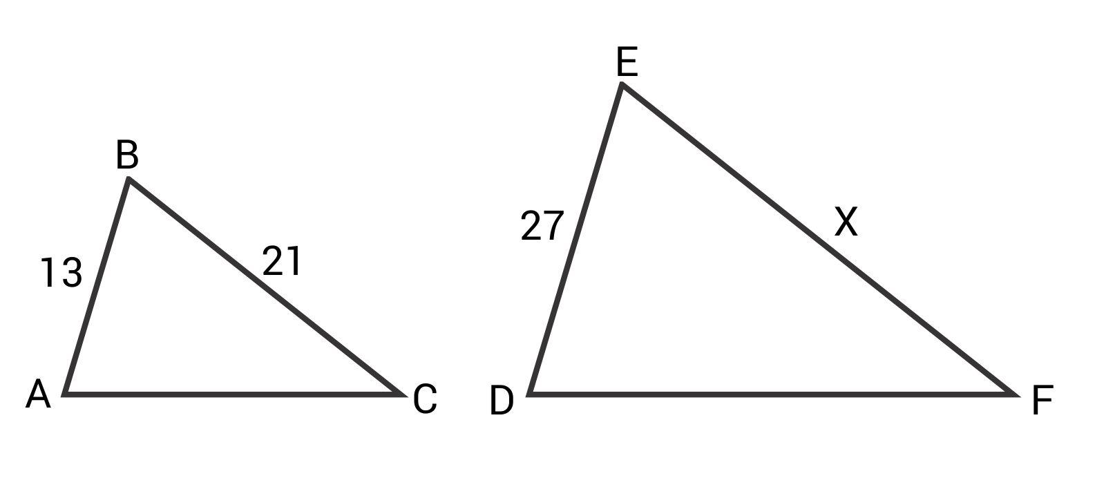 Similar triangles with side lengths 13 and 21 versus 27 and x