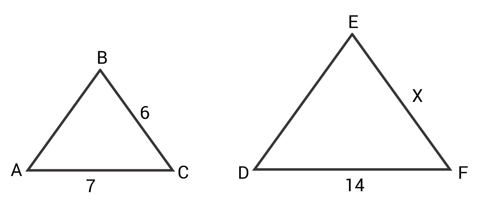 Similar triangles with side lengths 6 and 7 versus x and 14