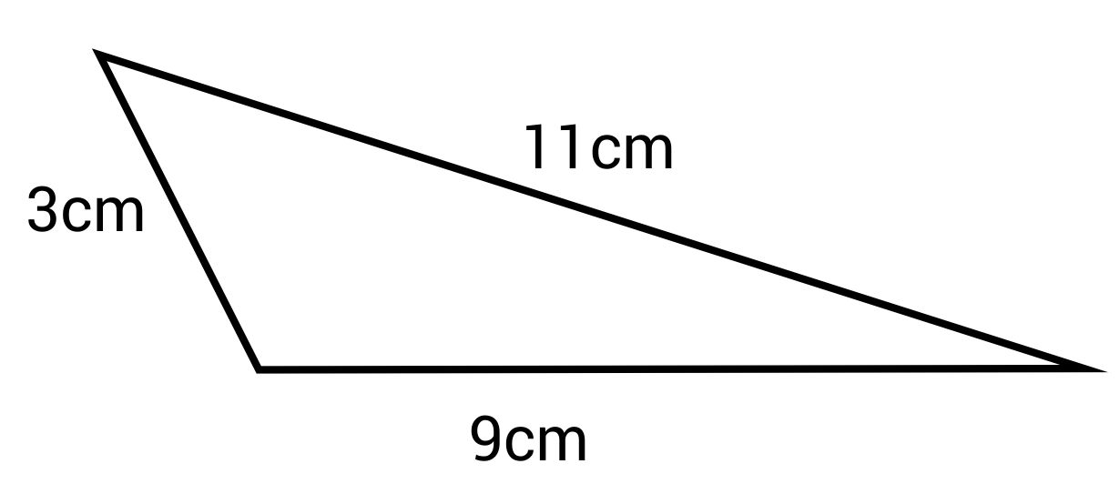 Triangle with side lengths 3cm, 11cm, and 9cm