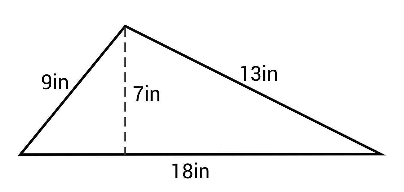 triangle with base length 18in and height 7in