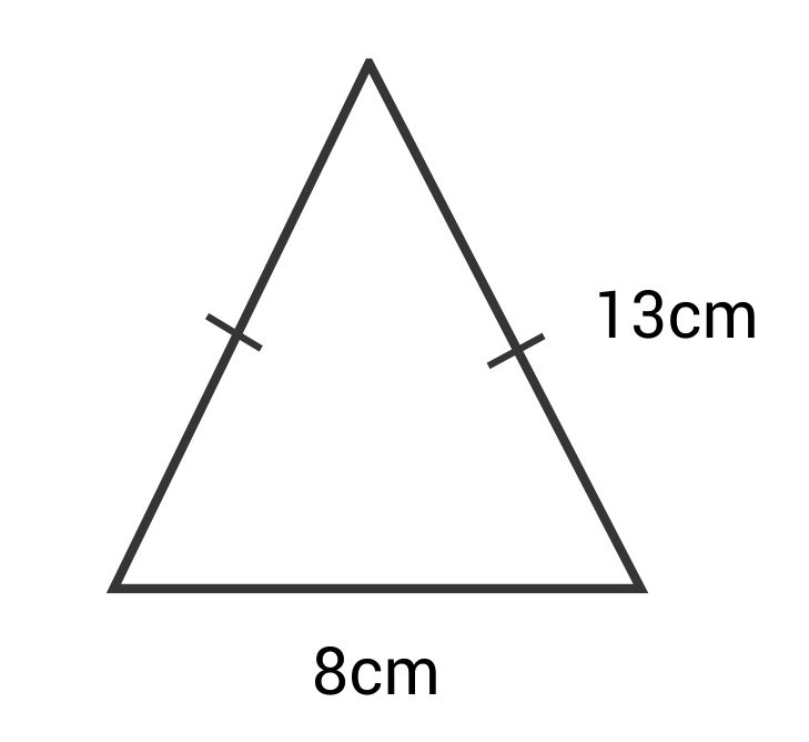 triangle with side lengths 13cm, 13cm, and 8cm