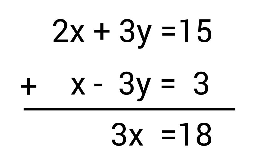 2x+3y=15 + x-3y=3_elimination