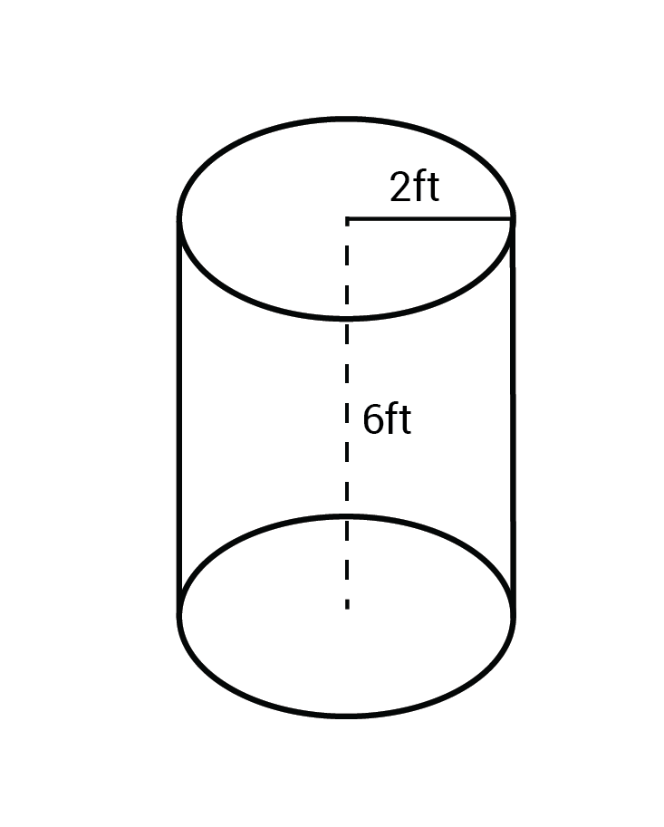 cylinder with a height of 6ft and radius of 2 ft