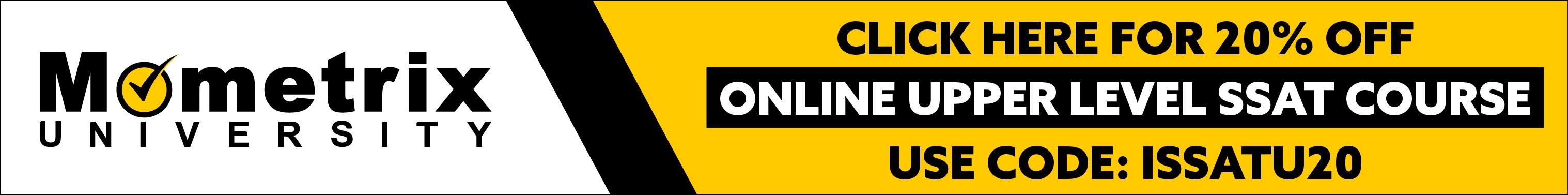 Mometrix University Ad for 20% off Online Upper Level SSAT Course