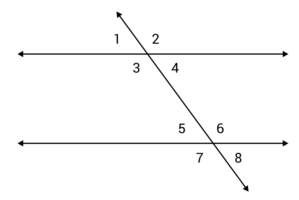 2 parallel lines and an intersecting line with 8 angles