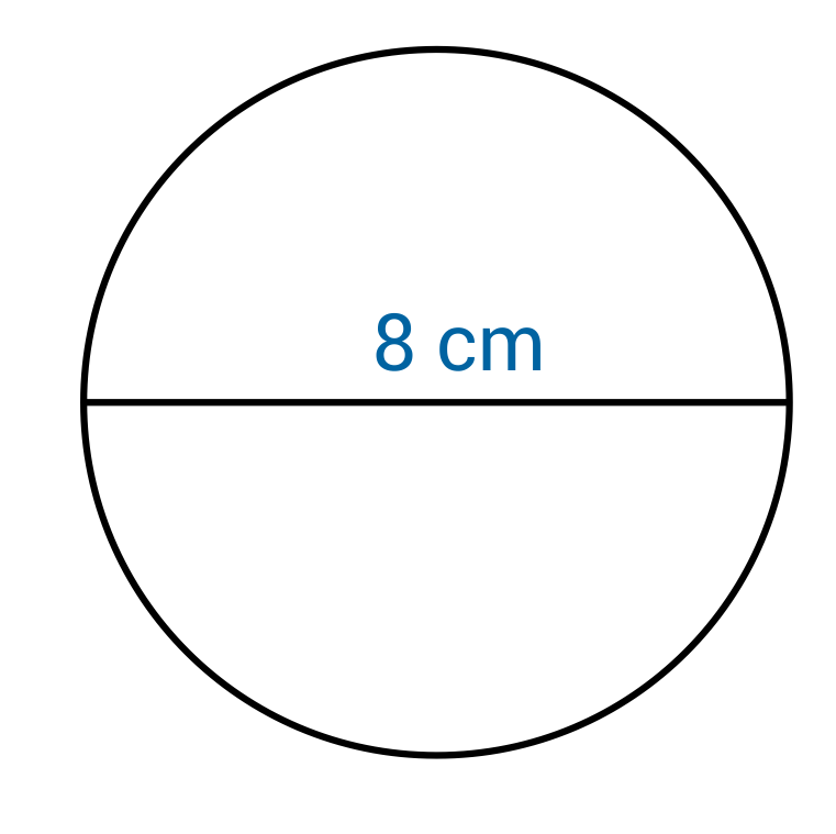 circle with a diameter of 8cm