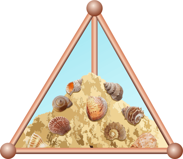 Triangular glass pyramid filled with sand and seashells