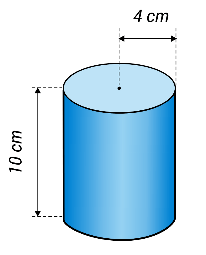 Cylinder with a radius of 4cm and a height of 10cm