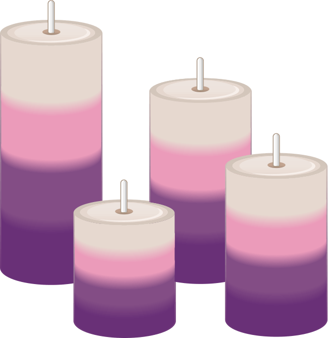 Image of 4 candles of different heights