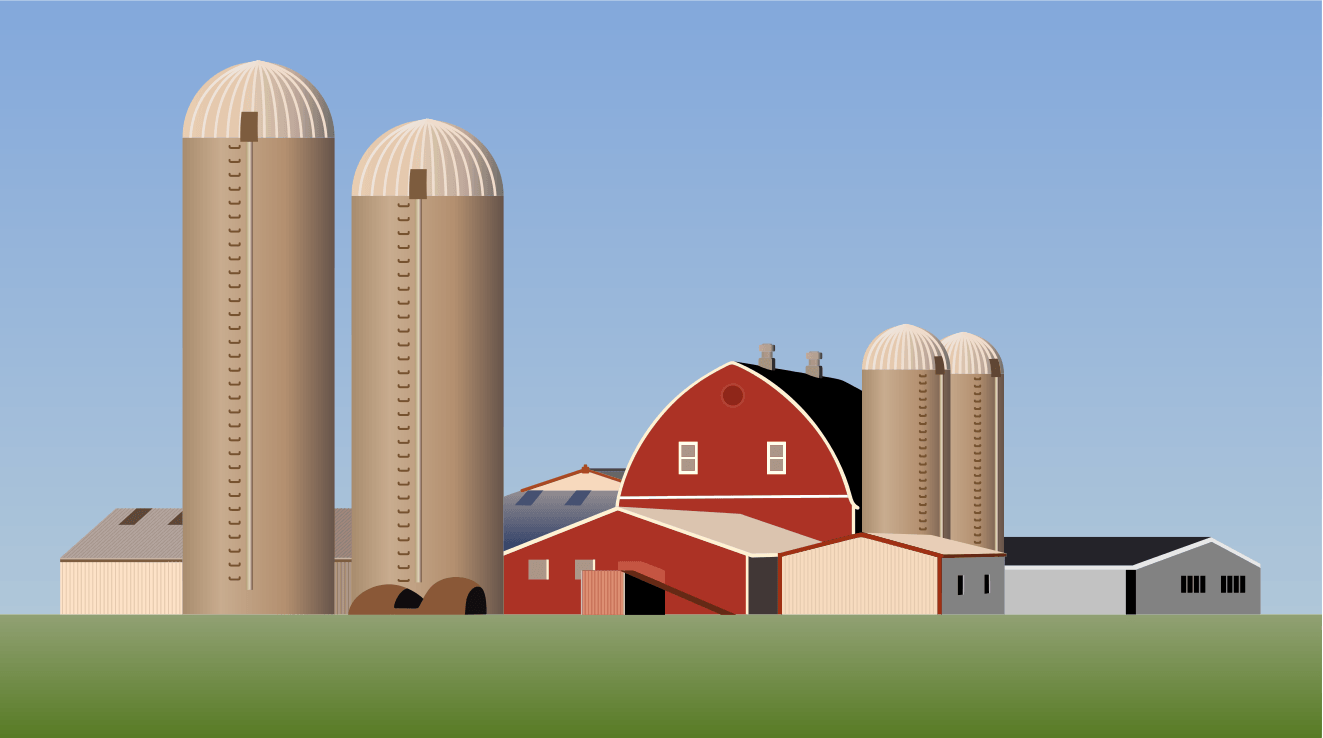 Image of a farm with silos