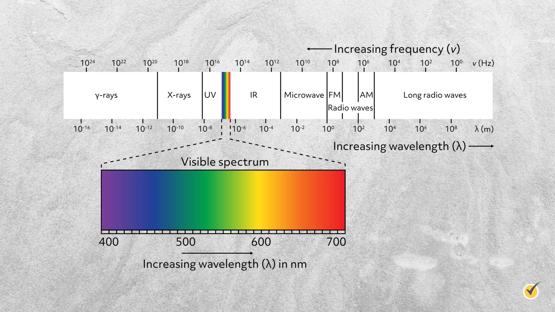 visible spectrum of light compared to entire electromagnetic spectrum