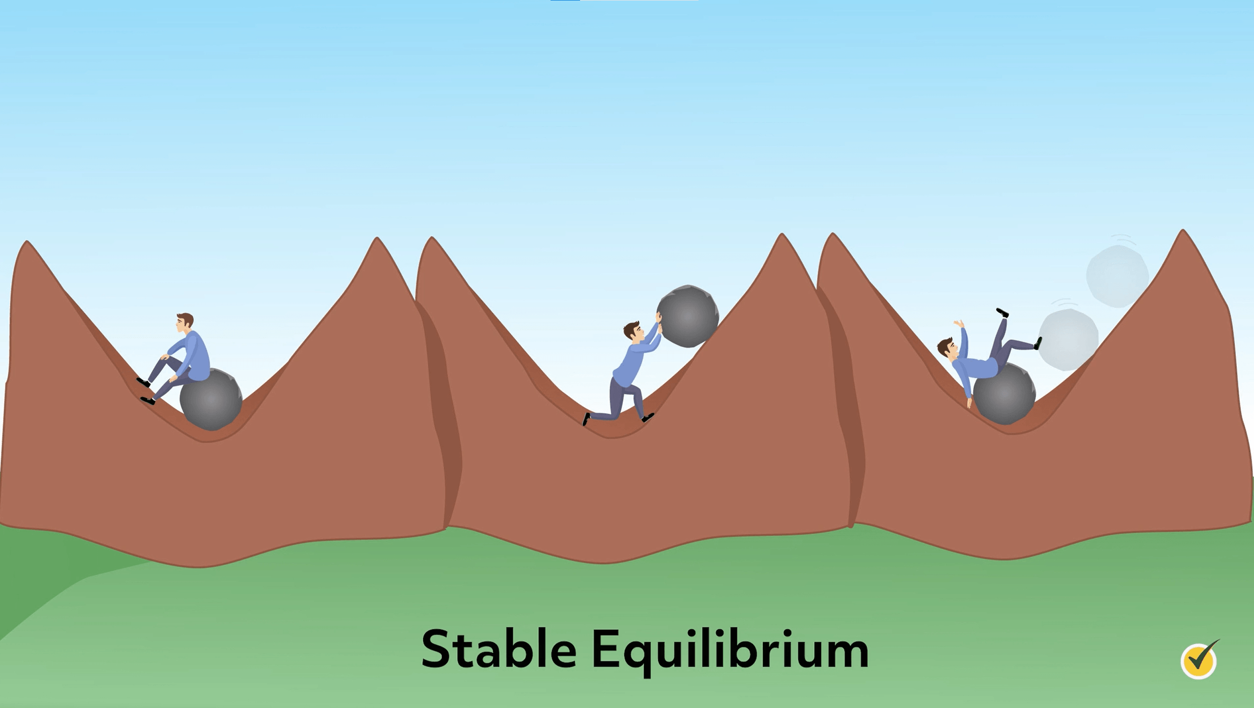 Image of a person demonstrating a stable equilibrium. There is a rock in the center of a cradle shaped structure, and it cannot roll out of the area. It always goes back to the middle no matter how hard the man pushes.
