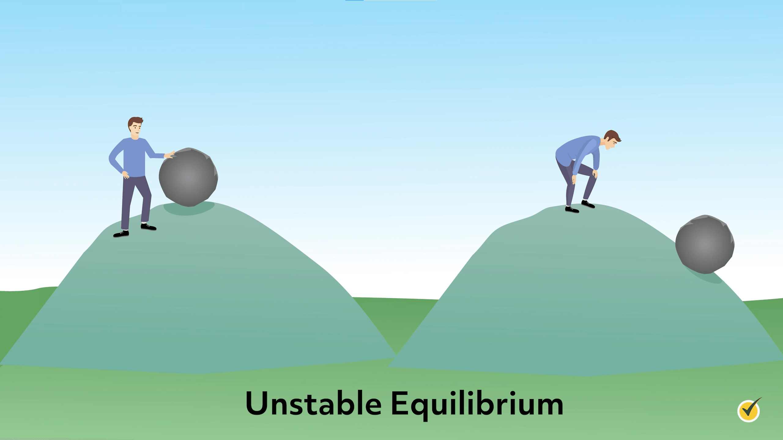 Image of unstable equilibrium. There is a rock on top of a hill, the man pushes, and the rock rolls down the hill.