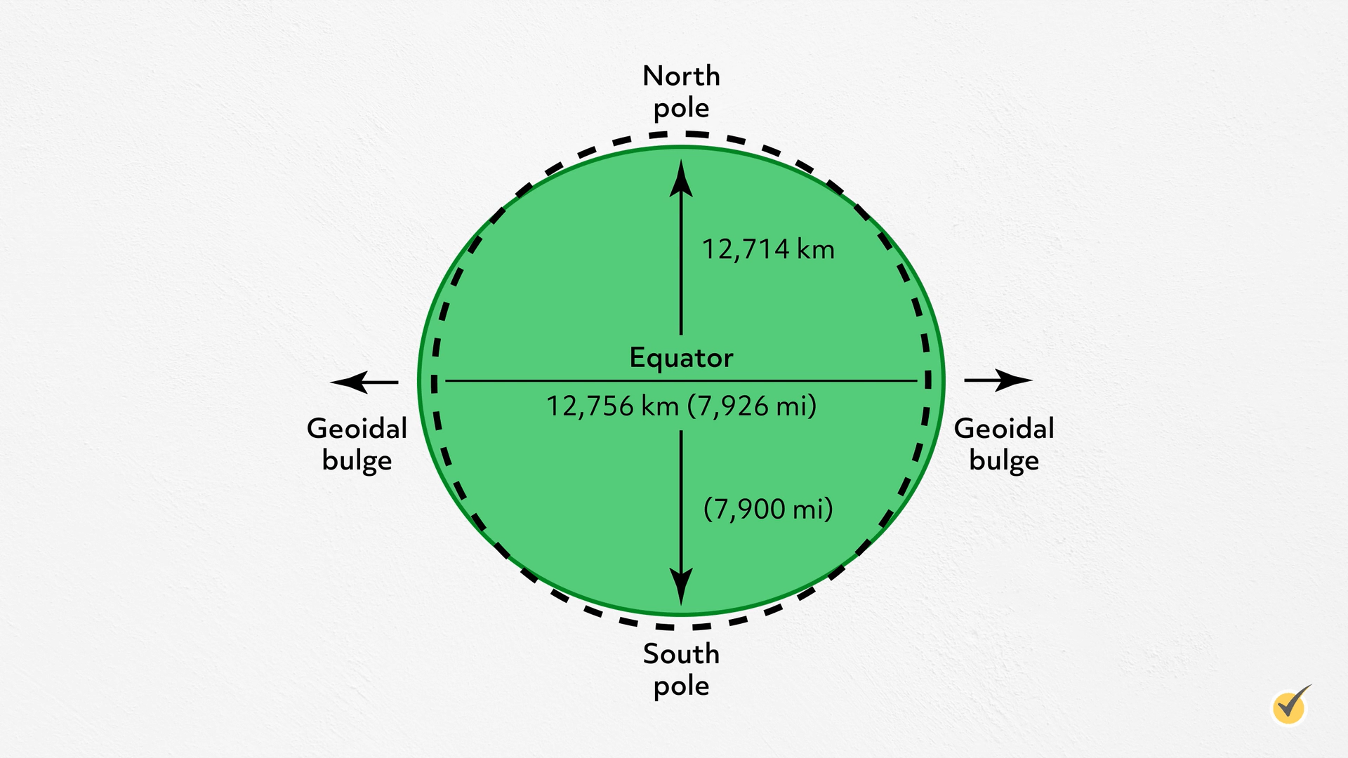Example of an ellipsoid. North pole, south pole, Geoidal bulge, and equator.