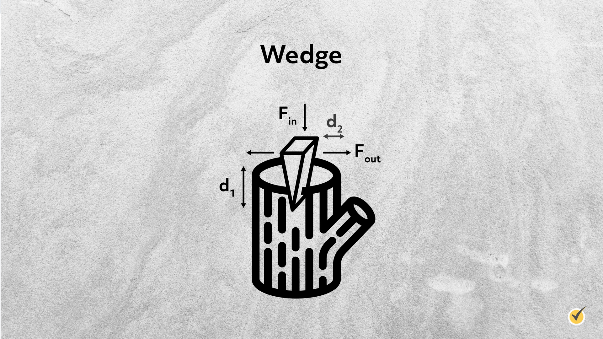 Image of a wedge, which is a simple machine.