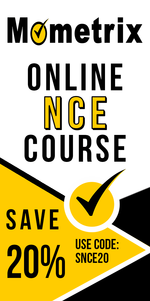 Click here for 20% off of Mometrix NCE online course. Use code: SNCE20