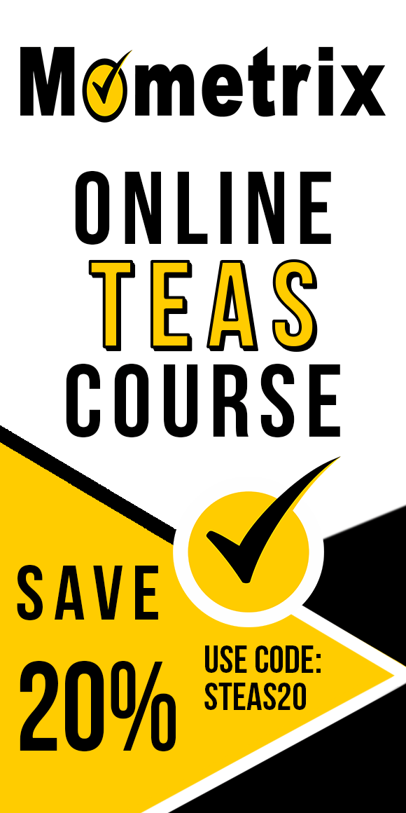 Advertisement for 20% off on the Mometrix University online TEAS course. Use code STEAS20