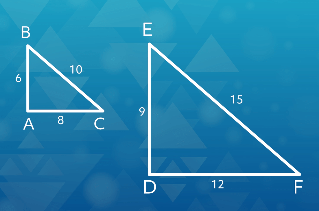 Two triangles that are the same shape, but one is twice as large as the one next to it.