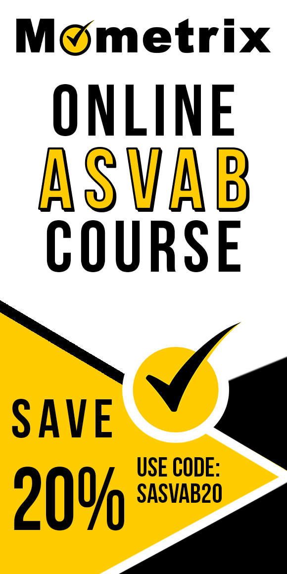 Click here for 20% off of Mometrix ASVAB online course. Use code: SASVAB20