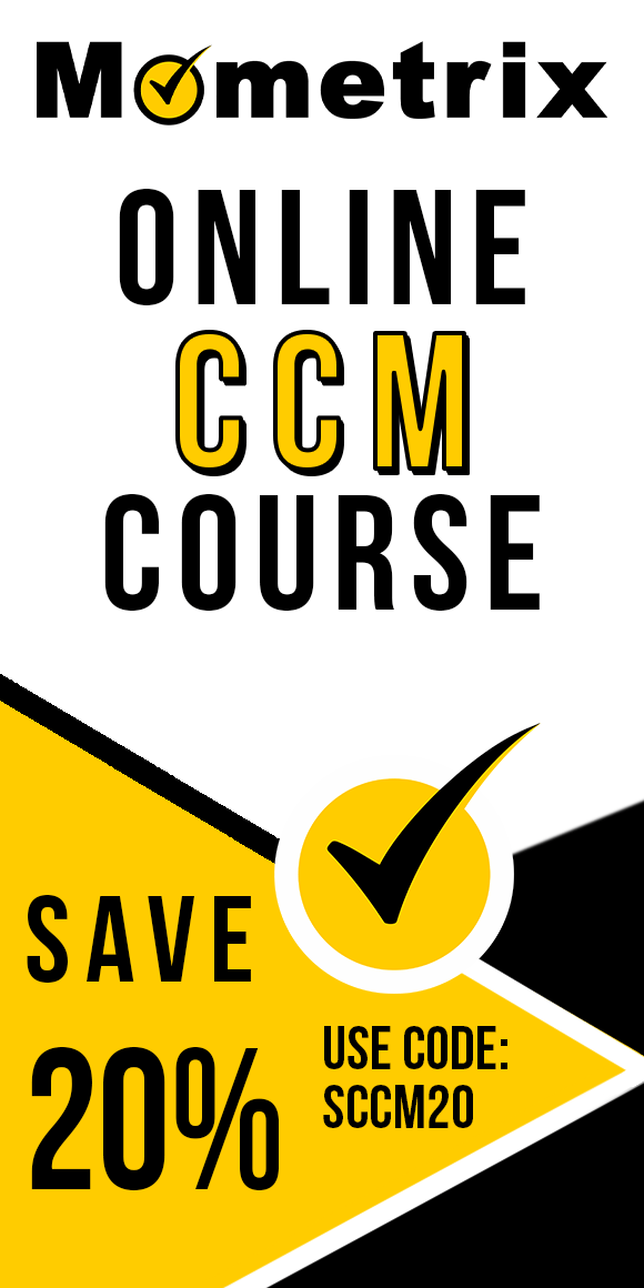 Click here for 20% off of Mometrix CCM online course. Use code: SCCM20